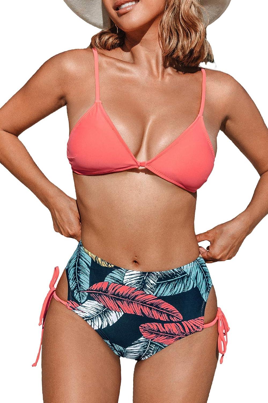 CUPSHE Women's Bikini Swimsuit High Waist Leaf Print Tie Side Two Piece Bathing Suit