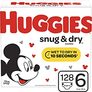 Huggies Snug & Dry Diapers, Size 6 (35+ lb.), 128 Ct, One Month Supply (Packaging May Vary)