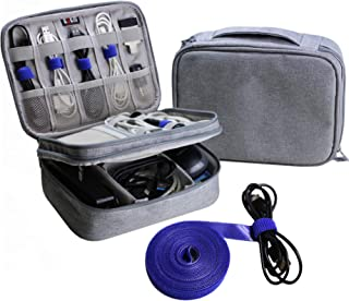 Electronics Organizer Travel Bag Cable Cord Wire Accessories Gadget Gear Storage Cases (Light Gray)