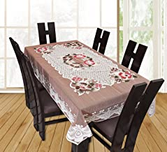 Yellow Weaves™ Designer Dining Table Cover Beige Net Cloth 6 Seater 60x90 Inches