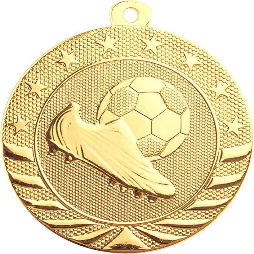Express Medals (1-10 Pk Gold Soccer 1st Place Medal Award Trophy with Neck Ribbon