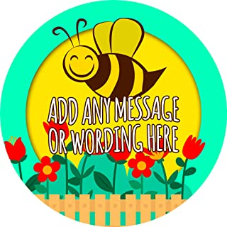 Gardening Honey Bee Sticker Labels (24 Stickers, 1.8'' Inch Each) Personalized Ideal for Treat Favor Party Bags Candy Cones Jars Gift Boxes Bottles Crafts