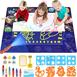 Water Doodle Mat,Apsung Large Aqua Doodle Mat,100 x 80 cm Large Water Drawing Doodling Mat with 2 Highlighters,Light and W...
