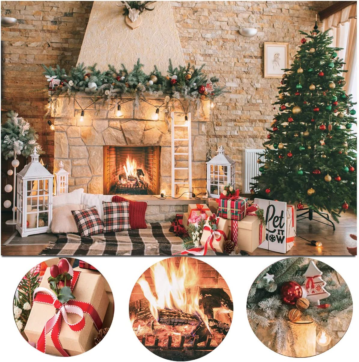 Dudaacvt 7x5ft Christmas Fireplace Theme Backdrop for Photography Christmas Photography Backdrop Merry Xmas Sock Gift Decorations Family Party Party Supplies Banner Booth Props D470
