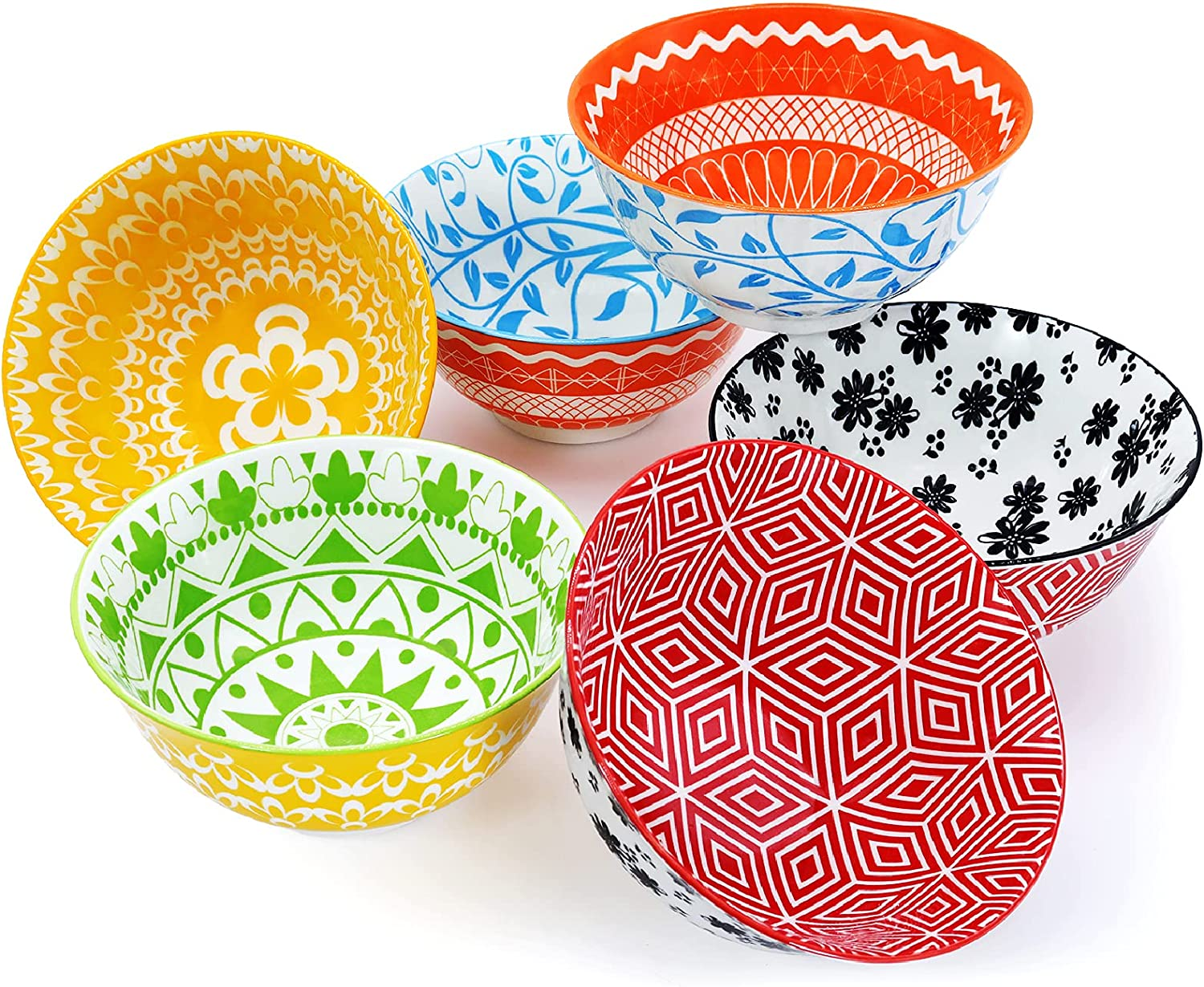 Porcelain Free Shipping New Cereal Bowls Recommendation Set of 6 Colorful Vivimee 24 Ounce Soup