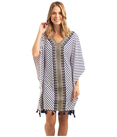 Cabana Life Essentials Embroidered Cover-Up (Navy/White Stripe) Women