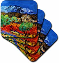 3dRose CST_21114_1 Provence Landscape Olive Trees and Poppies Soft Coasters, Set of 4