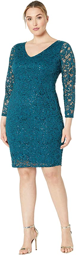 Plus Size Long Sleeve Stretch Lace Dress V Front and Back Keyhole