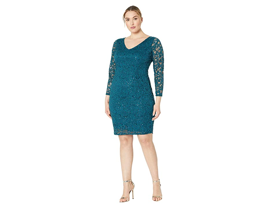 MARINA Plus Size Long Sleeve Stretch Lace Dress V Front and Back Keyhole (Teal) Women
