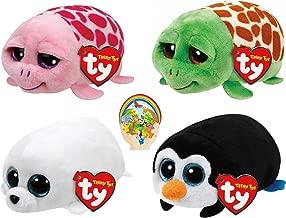 Teenys Ty Mini Marine Life Pocket Penguin, Slippery Seal, Turtles Shuffler Pink & Cruiser Set of 4 Friends with Bonus Animals Sticker