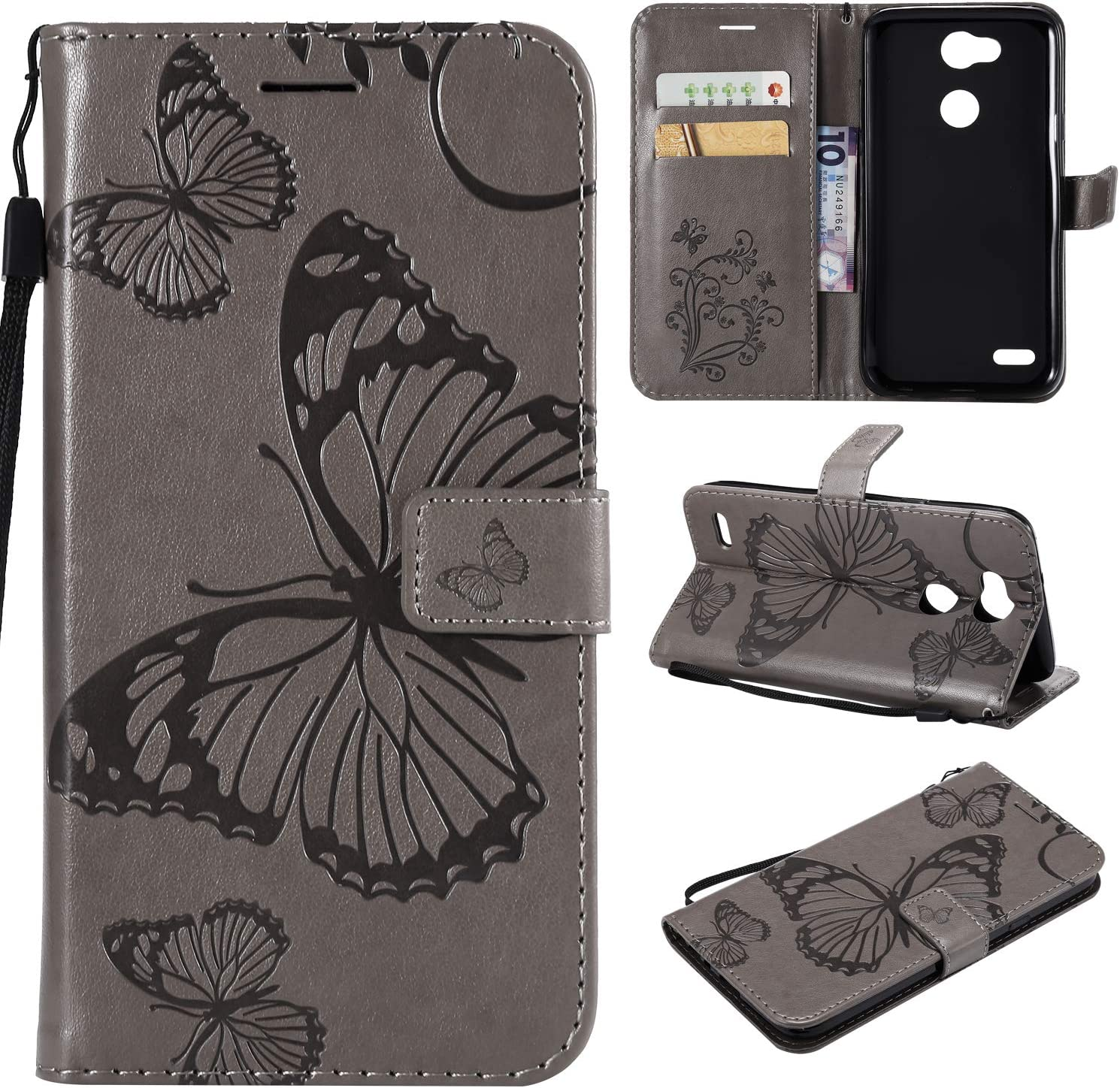 LG X Power 3 Phone Case,LG X Power 3 Wallet Case,LG X Power 3 Case with Card Slot Holder Premium Leather Folio Flip PU Protective Case Cover for LG X Power 3 with Kickstand,Cute Butterfly Rose Gold