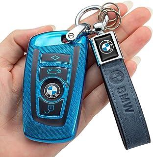 for BMW Carbon Fiber Square Key case (for BMW Carbon Fiber Square Blue F)for BMW Key fob Cover, Key Fob Case for BMW 2 5 6...