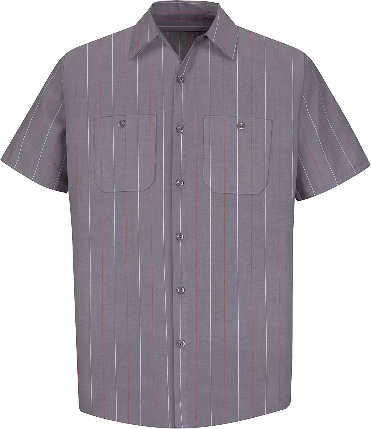 Red Kap Mens Striped Industrial Work Shirt with Pencil Stall Regular Fit Short Sleeve
