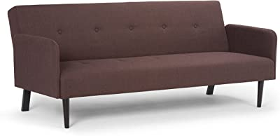 Simpli Home AXCSOF-03-MB Ashby Transitional 74 inch Wide Sofa Bed in Maroon Brown Linen Look Fabric