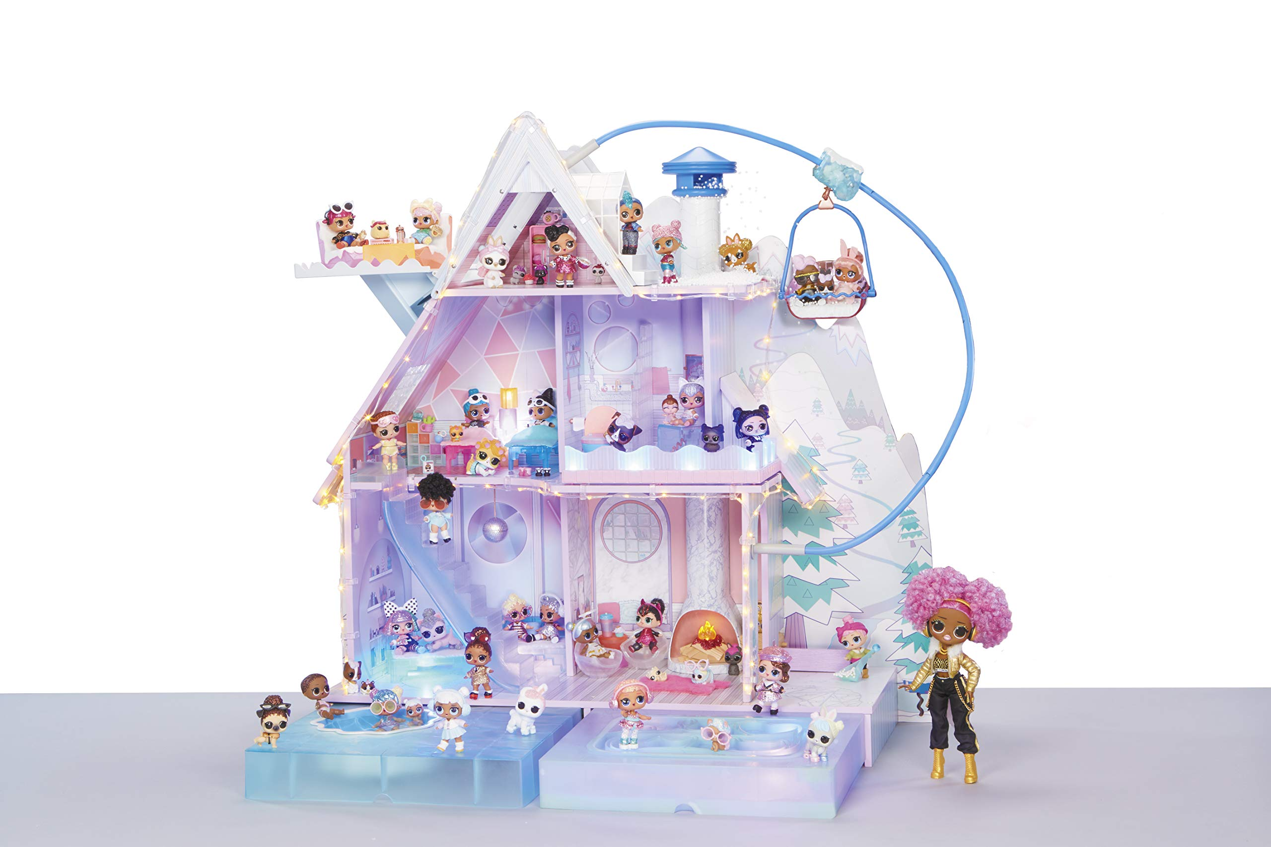 LOL 서프라이즈 '윈터 디스코' 인형의 집 LOL Surprise LOL Surprise! Winter Disco Chalet Doll House with 95+ Surprises &  Family,Standard Packaging