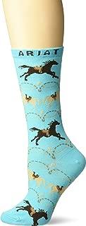 Ariat Women's Running Horses Scroll Mid-Calf Novelty Sock, Blue, One Size