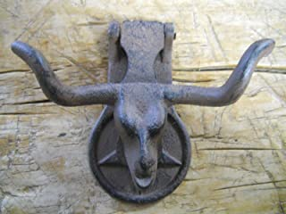 Starworld - Heavy duty Cast iron Antique style Rustic LONGHORN STEER Door Knocker Western Cowboy COW - Wall Mount home décor Rust Brown Finish