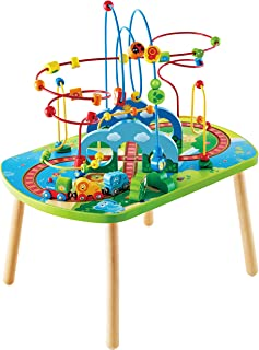 Hape E3824 Jungle Adventure Kids Toddler Wooden Bead Maze & Railway Train Track Play Table Toy for Ages 18 Months and Up M...
