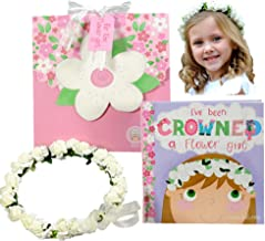Flower Girl Gift Set- Book with Floral Crown Headband Headpiece in Adorable Gift Box - I've Been Crowned a Flower Girl! White Ivory