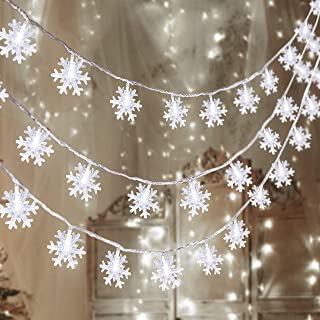 80 LED Christmas Snowflake String Lights Hanging Decorations - Winter Wonderland Lighted Decor for Holiday Xmas Indoor Out...