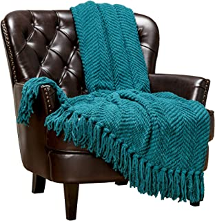 Chanasya Textured Knitted Super Soft Throw Blanket with Tassels Warm Cozy Lightweight Fluffy Woven Blanket for Bed Sofa Chair Couch Cover Living Bed Room Acrylic Throw Blanket (50x65 Inches) Teal
