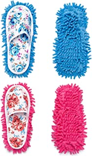 2 Pairs Microfiber Slipper Cleaning Mop Slippers Washable Detachable House Shoe Cover Dust Floor Cleaner for Bathroom Office Kitchen, Blue + Rose Red