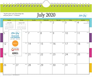 "Blue Sky 2020-2021 Academic Year Teachers Monthly Wall Calendar, Twin-Wire Binding, 11"" x 8.75"", Stripes, White"