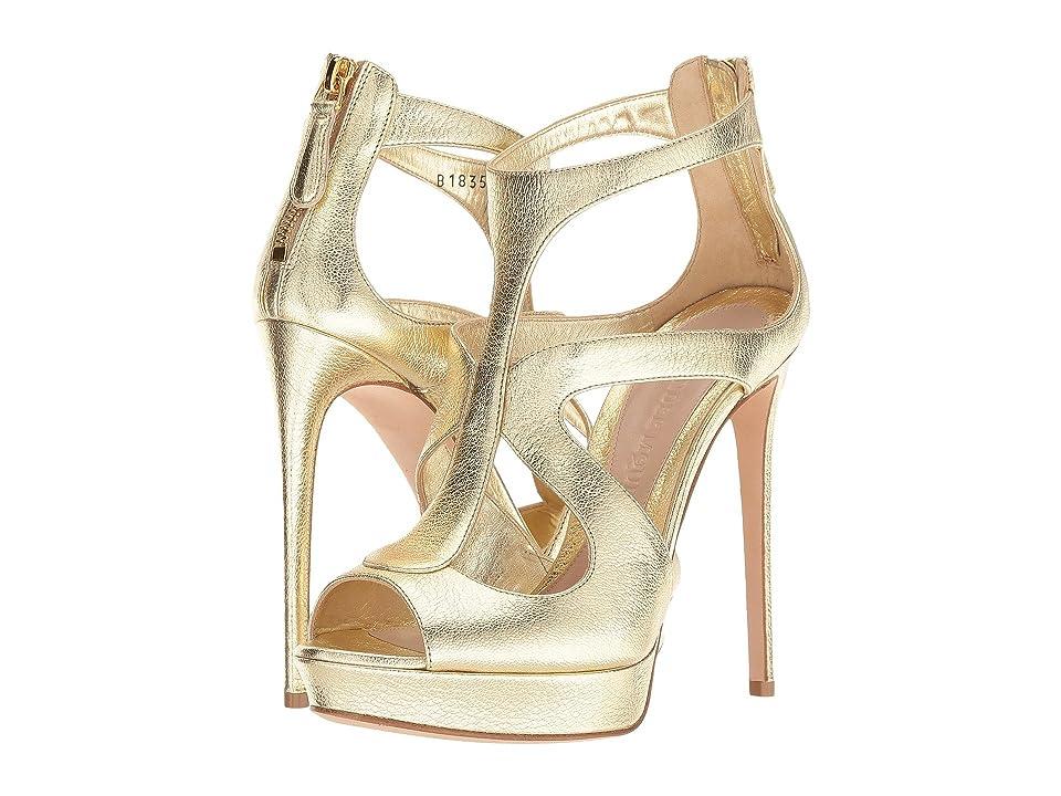 Alexander McQueen Cage Sandal (Gold/Gold) High Heels