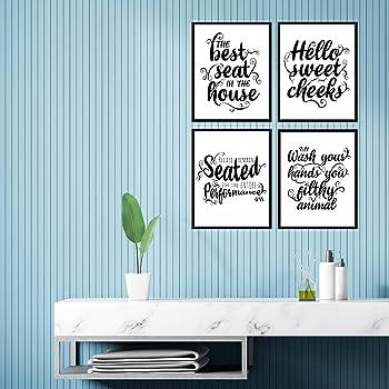 Decorshop Funny Bathroom Decor Wall Art & Funny Bathroom Signs Decor | Set of 4 Unframed 8x10 Bathroom Wall Art Print...