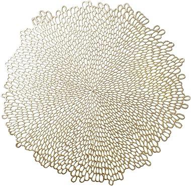 "Benson Mills Pressed Vinyl Placemat (Set of 4), 15.5"", Bloom-Gold, 4 Count"