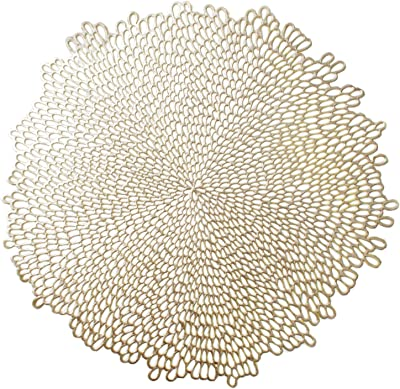 "Benson Mills Pressed Vinyl Placemat (Set of 4), 15.5"", Bloom-Gold, 4 Count"