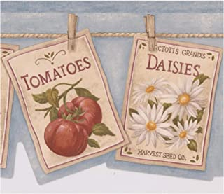 Flowers Vegetables Book Pages Hanging on Clothes Line Blue Wallpaper Border Retro Design, Roll 15' x 6.78''