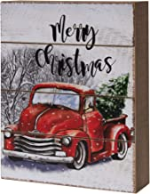 CWI Gifts Merry Christmas Red Truck Box Sign, Multi