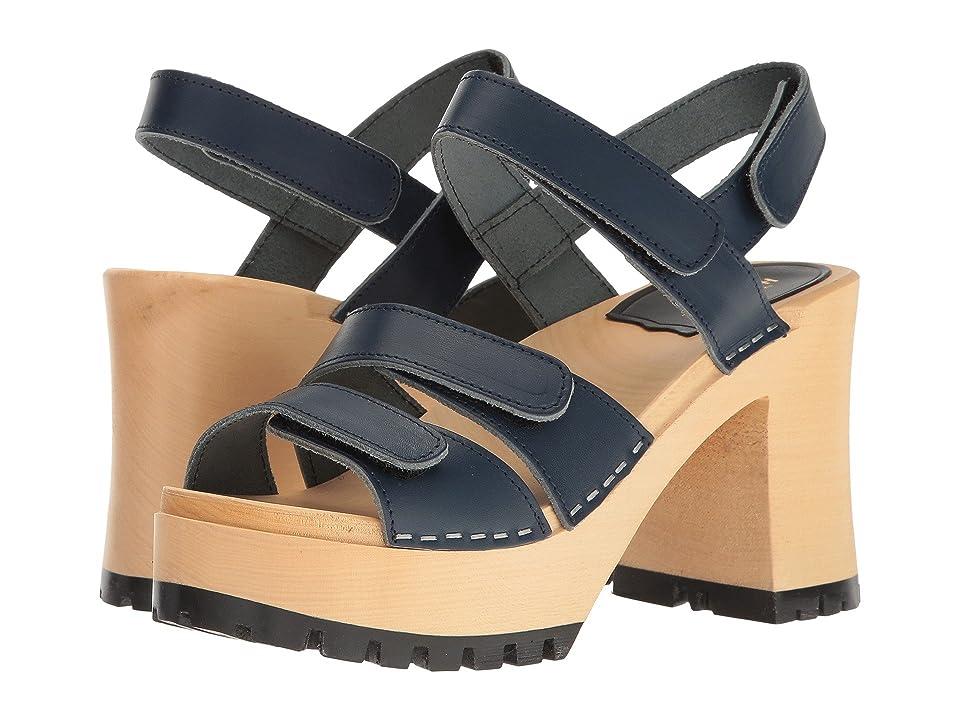 Swedish Hasbeens Velcra (Dark Blue) High Heels