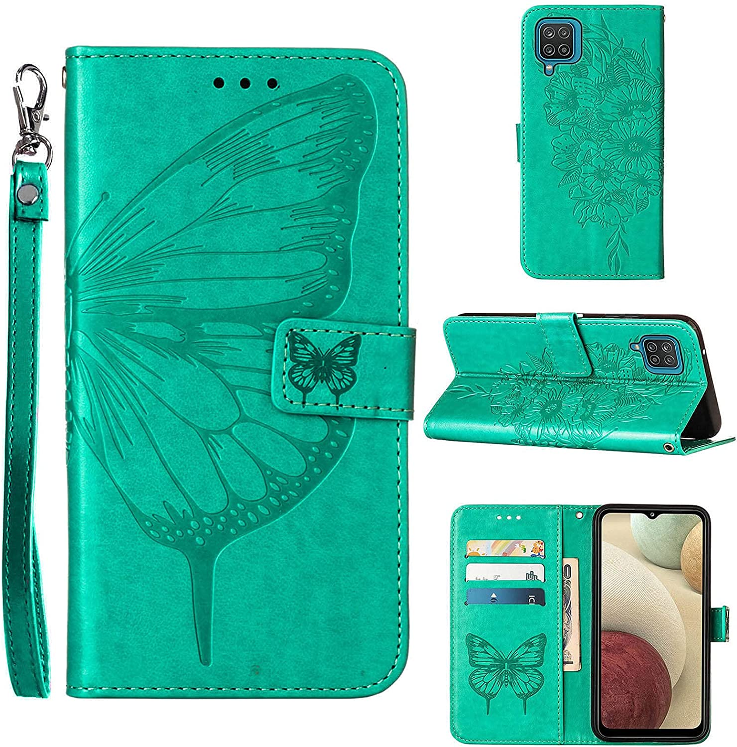 A12 Phone Case Wallet,for Galaxy A12 Case,[Kickstand][Wrist Strap][Card Holder Slots] Butterfly Floral Embossed PU Leather Flip Protective Cover for Samsung A12 Case (Green)