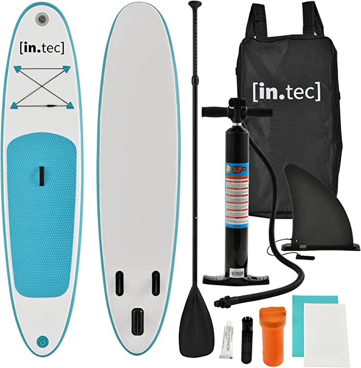 Stand up paddle gonfiabile - paddle board - 305 x 71 x 10cm - turchese/bianco B07CTV63NX