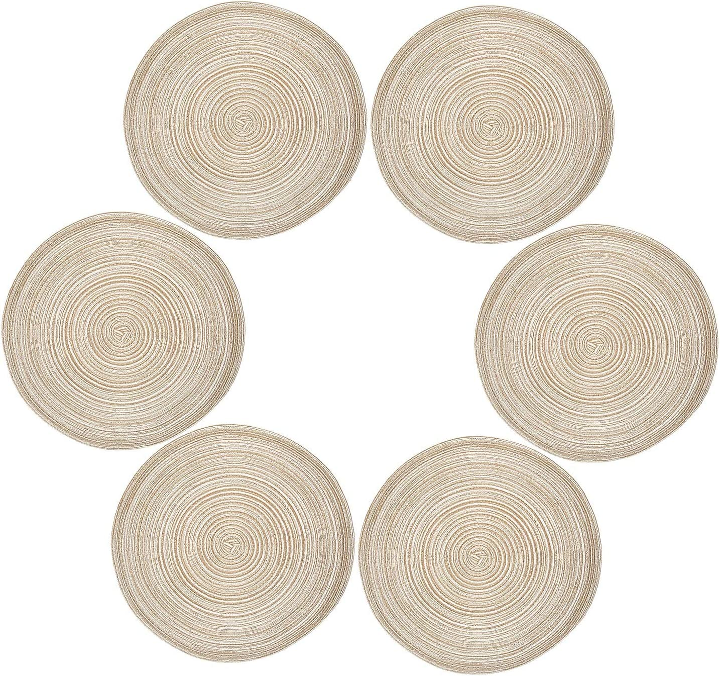 Diealles Placemats, Set of 9, Round, Heat Resistant, Woven Placemats,  Dining Table Mats, 39 cm