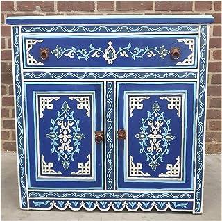 Casa Moro | Cómoda Azul de Madera marroquí (82 x 82 x 405 cm con 1 cajones y 2 Puertas Pintada a Mano) | MO4122