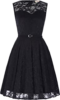 Women's Sleeveless Lace Dress A-Line Pinup Cocktail Party Dresses with Belt