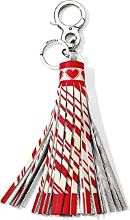 Boho Candy Cane Leather Tassel Fob Keychain Red White