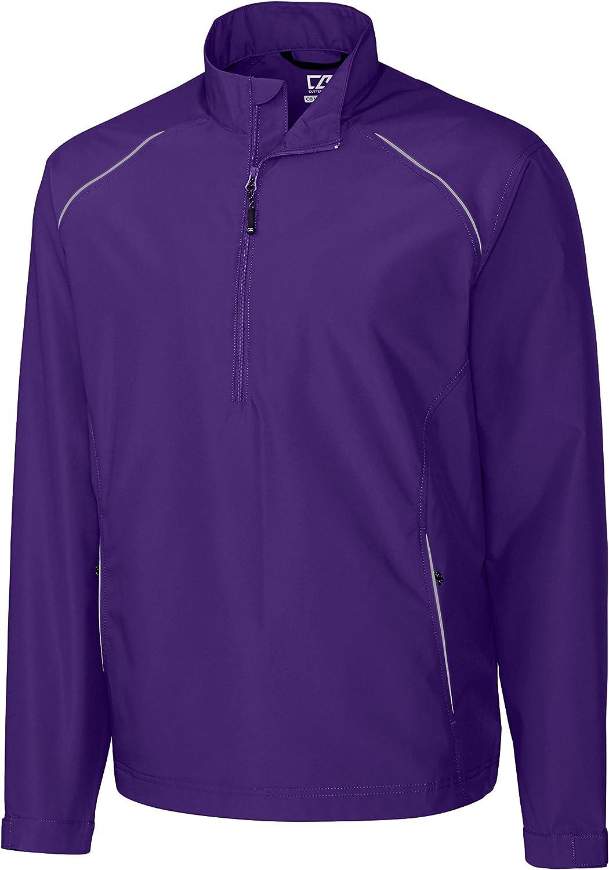 Cutter & Buck Mens Cb Weathertec Beacon Half Zip Jacket, College Purple-4XT