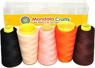Mandala Crafts Quilting Cotton Thread Cone for Machine and Hand Sewing, 100 Percent Natural Mercerized, 50 wt (5 Rolls 6000 Yards, Black Champagne Blush Orange Chocolate Brown Combo 6)