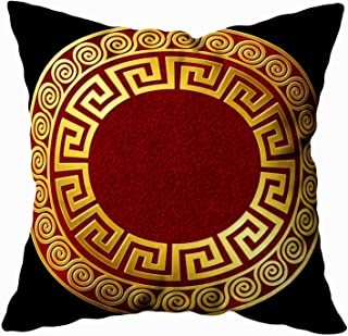 Capsceoll Bed Pillow Covers, Traditional Vintage Golden Round Greek Ornament Meander Pattern Red and Sofa Throw Pillows Case Covers,Home Decoration Pillow Cases Zippered Covers Cushion for Sofa Couch