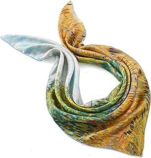 prettystern Donna piccola Foulard Di Twill Seta Bandana Fazzoletto da collo in seta twill dipinta a mano di Van Gogh