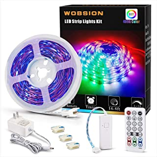 wobsion Color Changing Strip Lights, Room Lights Color Changing for Bedroom, 16.4ft 4096 DIY Colors Strip Lights with RF R...