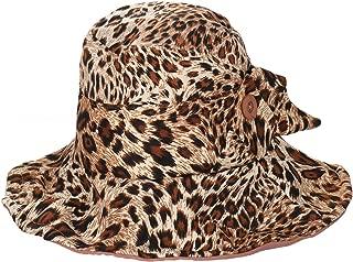 ZITULRY Leopard Print Hat Fedoras Flap Cover Cap Wide Brim Cotton Floppy Bucket Sun Hat