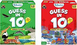 Skillmatics Guess in 10 - Animal Planet (Ages 6-99 Years) + States of America (Ages 8-99) Bundle | Card Game of Smart Ques...