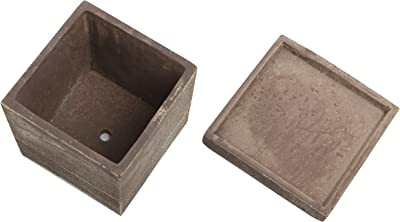 MyGift 5 x 5 inch Brown Wood Textured Cement Planters Flower Pots with Removable Saucers, Set of 2