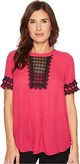 Ivanka Trump Georgette Short Sleeve Lace Blouse