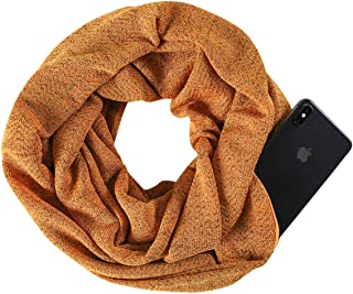 Libertepe Women Infinity Zipper Pocket Scarf Unisex Fashion Warm Winter Travel Scarves
